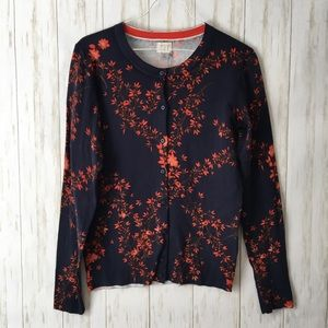 a new day Navy Orange Floral Print Button Cardigan
